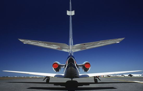 Tail fin of airplane back view
