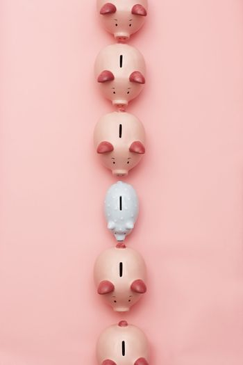 Row of pink piggy banks with one white view from above