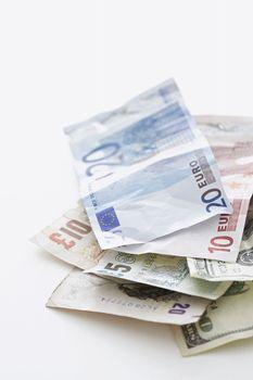 Euro notes on white background