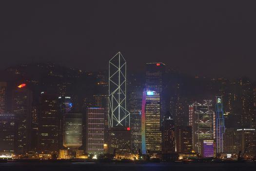 China Hong Kong skyline at night