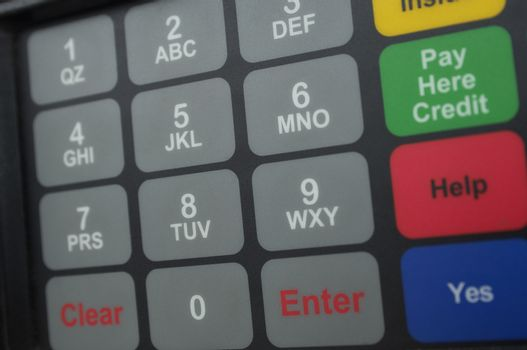 Closeup of buttons on gas pump
