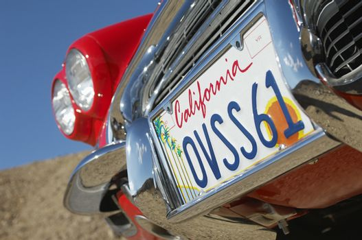 Classic cars number plate close-up