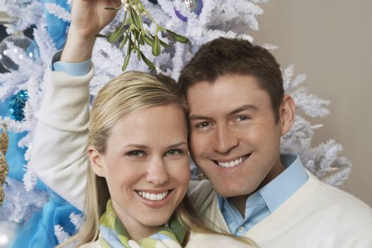 Portrait of a happy young Caucasian couple under mistletoe in front of Christmas tree