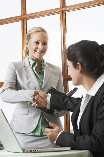Young businesswomen shaking hands in office