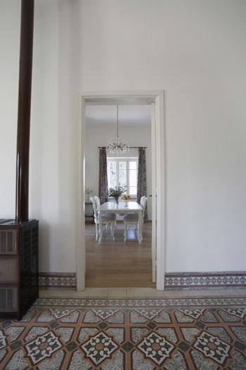 View of dining room from doorway in 1950s townhouse