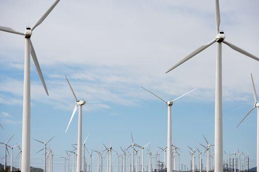 Power generating wind turbines at wind farm