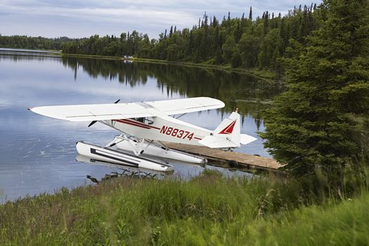 Seaplane tied up to pier on lake, Alaska, USA