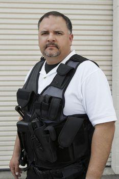 Portrait of a security guard in bulletproof vest