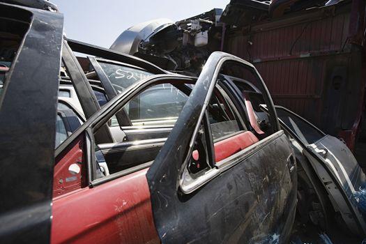 Torndown and brokencar parts in junkyard