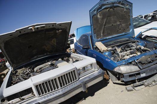 An open wrecked cars at junkyard