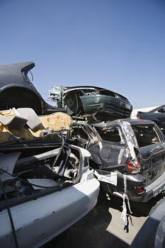 Worn out automobiles at junkyard