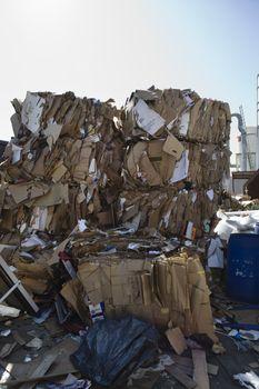 Heap of thrown cardboard boxes