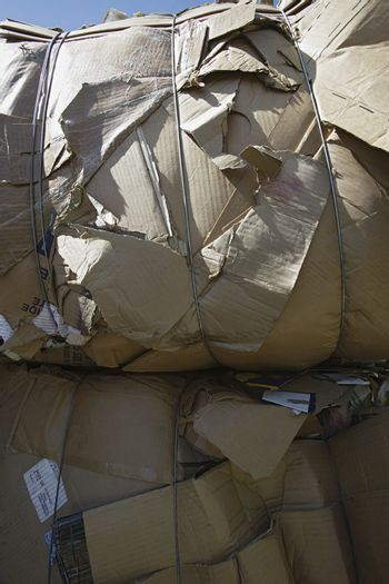 Closeup of tied up cardboard boxes