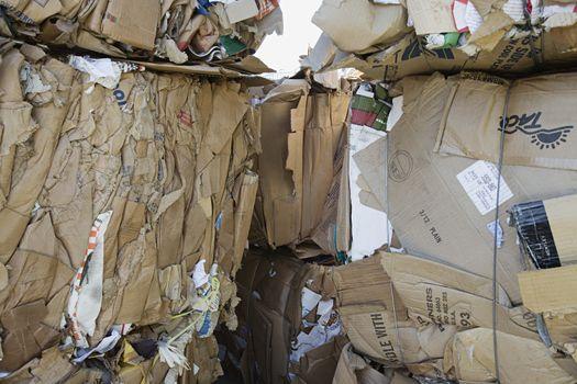 Tied up cardboard boxes in junkyard