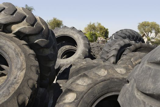 Old tires in recycling center