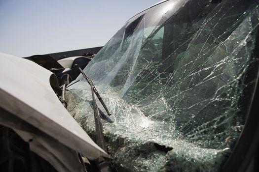 Closeup of broken windshield