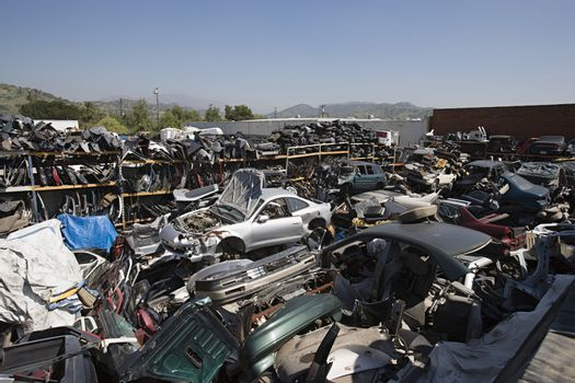 Scrap yard of old torn out and broken up cars