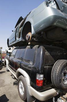 Broken down cars at an automotive junkyard