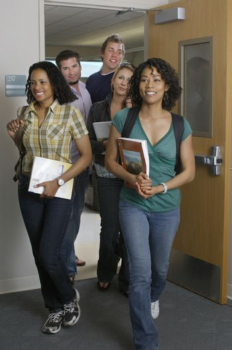 Students entering classroom