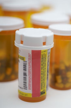 Closeup of bottles of pills