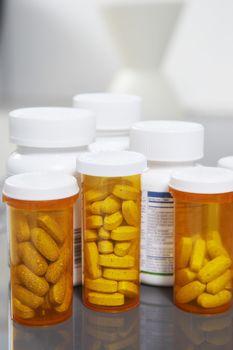 Closeup of pill bottles