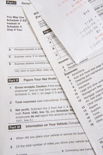 Detail of tax forms with receipt