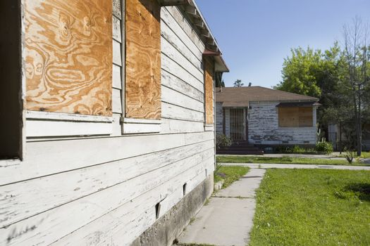 Abandoned Houses With Boarded Up Windows