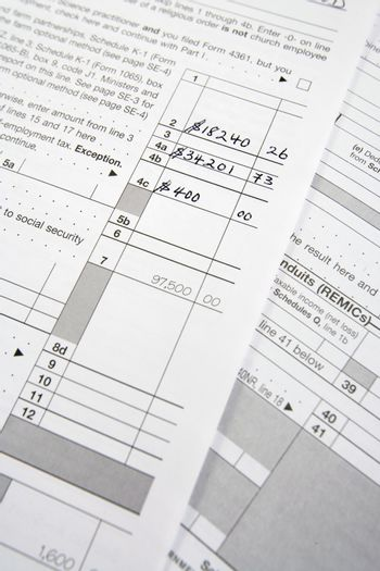 Detail of tax forms