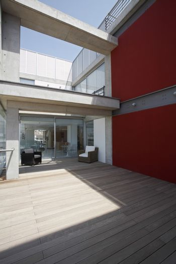 Porch of modern apartment building