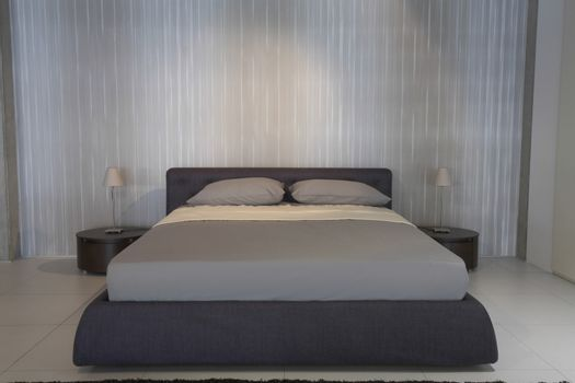 Interior of bedroom with contemporary furniture