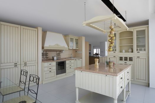 Interior of kitchen with contemporary furniture