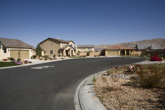 Empty curved road in front of residential structures