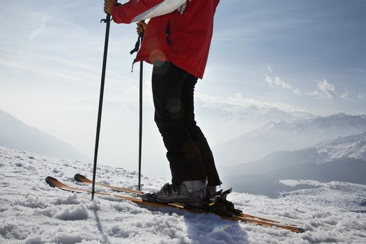 Skier in mountains low section