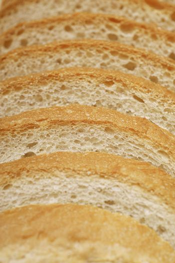 Detail of bread slices arranged in line