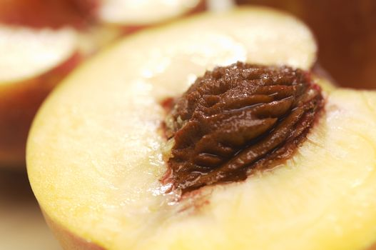 Detailed image of a peach with seed