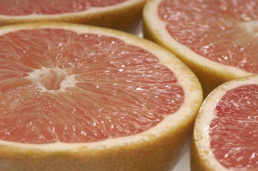 Closeup detail of grapefruit slices