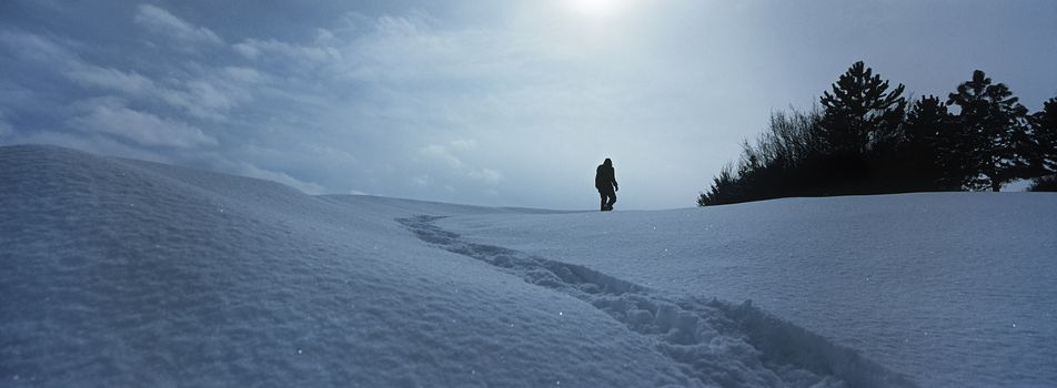 Person walking in snow against sky