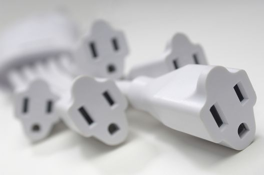 Closeup of sockets isolated over white background