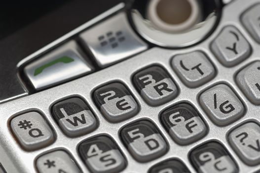 Closeup of push buttons on mobile phone