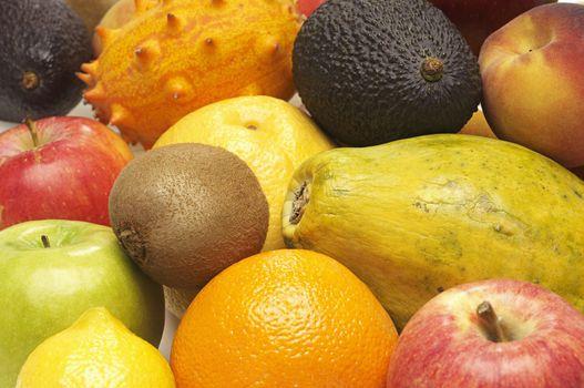 Closeup of various organic fruits