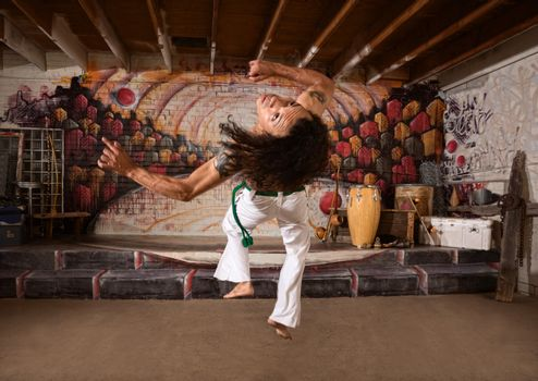 Capoeira Performer Leaping Up