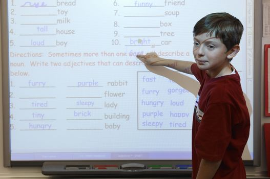 Student in Classroom Doing Math