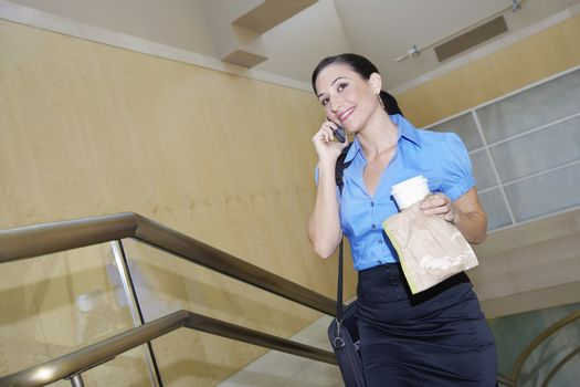 Business woman holding lunch using mobile phone