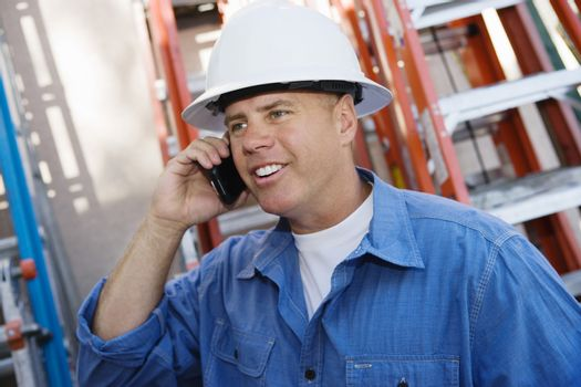 Worker Talking on Cell Phone