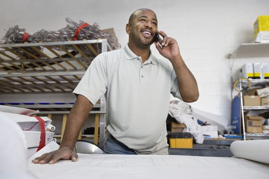 Workman Talking on Cell Phone