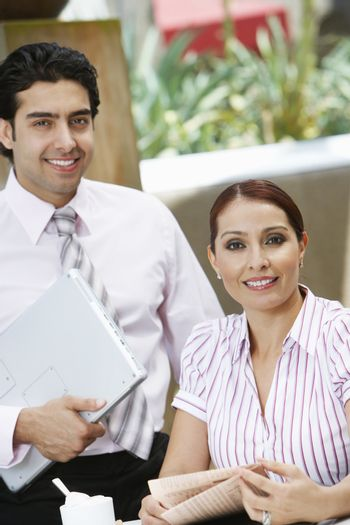 Business woman and business man portrait