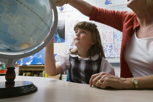 Little Girl Learning Geography