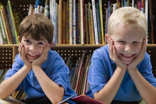 Little Boys in School Library
