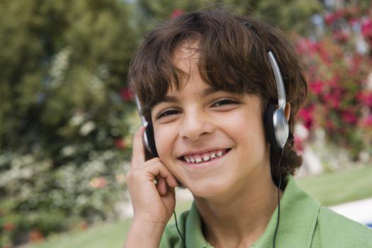 Little Boy Listening to Headphones