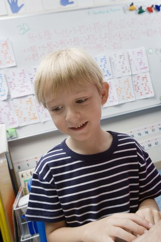 Little Boy in Classroom